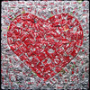 "Heart on Diet, 2012 Aluminum Cans on Panel 48""h x 48""w Heart on Diet is one of three works from a series called Fractal Coke in which the design of the can was multiplied by itself to reproduce a larger version of the can's design."