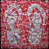 "Flip Flop, 2012 Aluminum Cans on Panel 48""h x 48""w Flip Flop is one of three works from a series called Fractal Coke in which the design of the can was multiplied by itself to reproduce a larger version of the can's design."