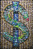 "Dollar Sign, 2011 Aluminum Cans on Panel 72""h x 48""w This panel asks the question what is the relationship between our consumer society and the economy, between poison and health."